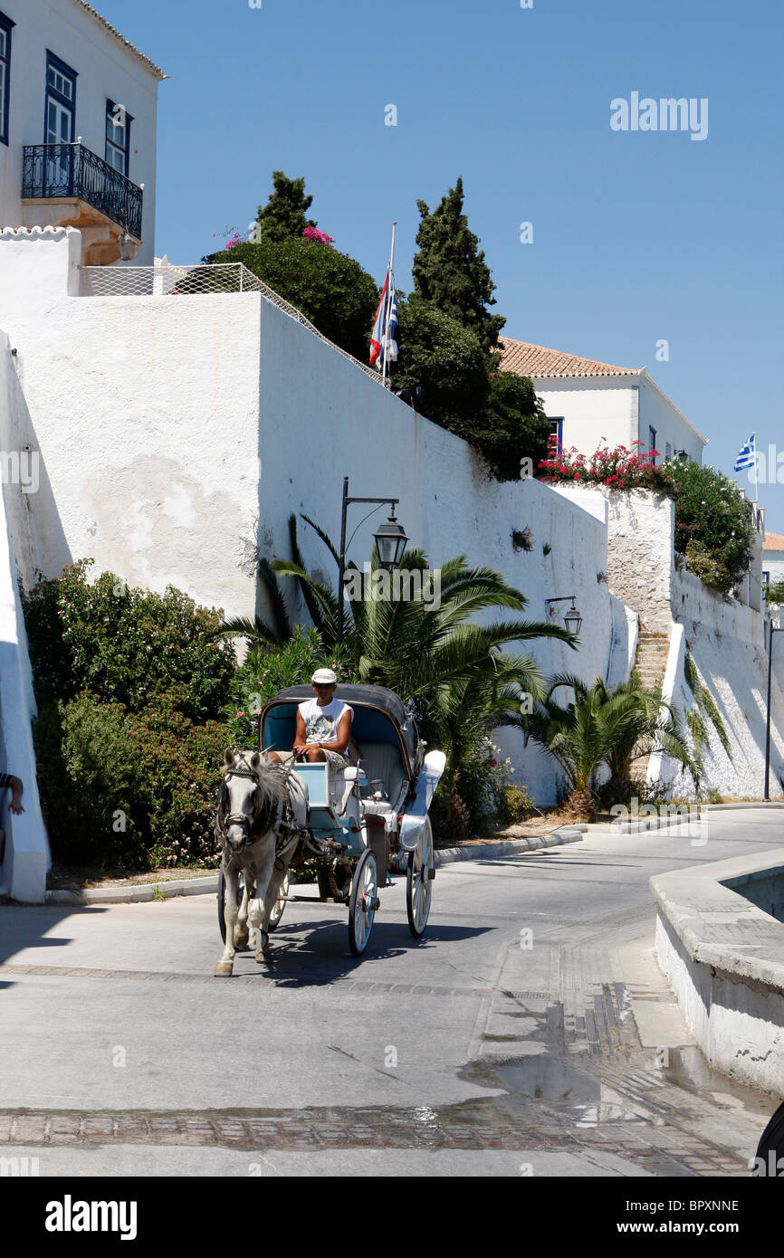 Hackney carriage in Spetses island Greece - Stock Image