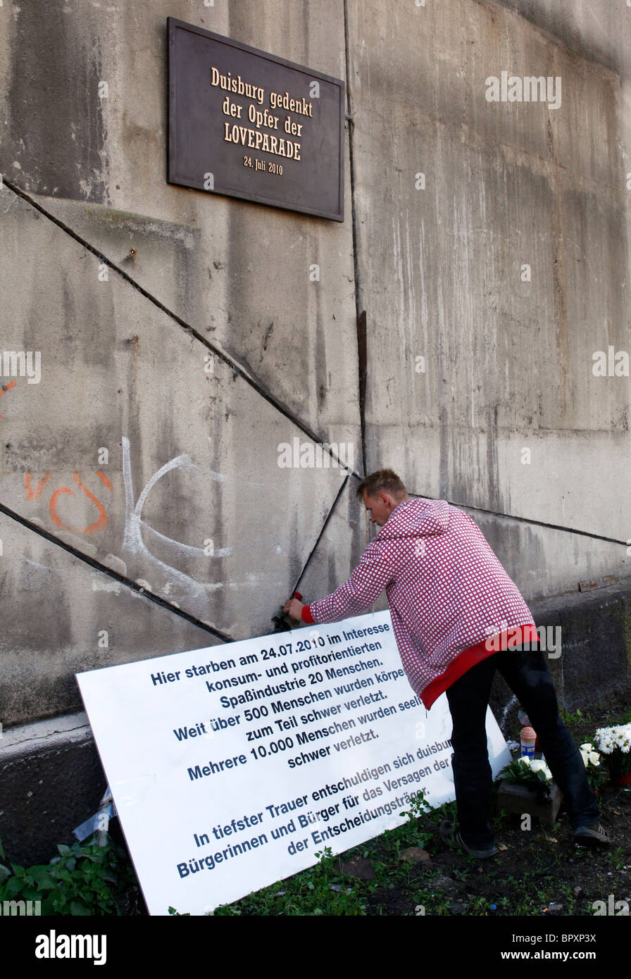 Duisburg, Germany, Loveparade 2010: site where a tragedy happened when on July 24th 2010 21 people died and hundreds - Stock Image