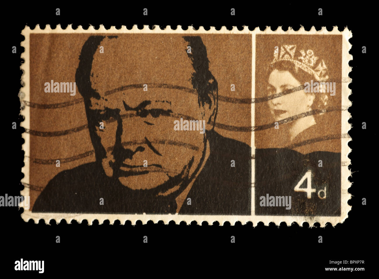Sir Winston Churchill commemoration Stamp 1965 used - Stock Image