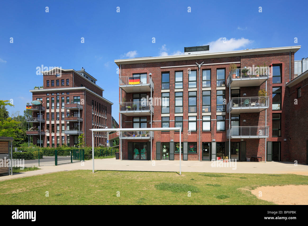 Loftwohnungen in einer ehemaligen Werkhalle der Brikettfabrik Grube Carl in Frechen, Ville, Naturpark Rheinland, - Stock Image