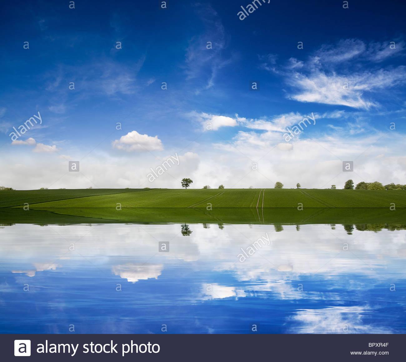 Landscape reflection - Stock Image