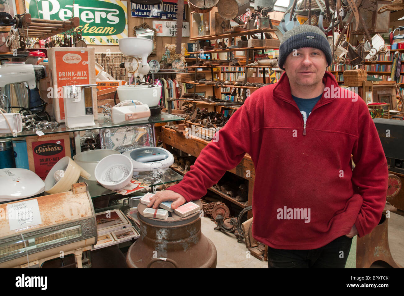 Paul Schipper, antique dealer near Koroit, Victoria, Australia Stock Photo