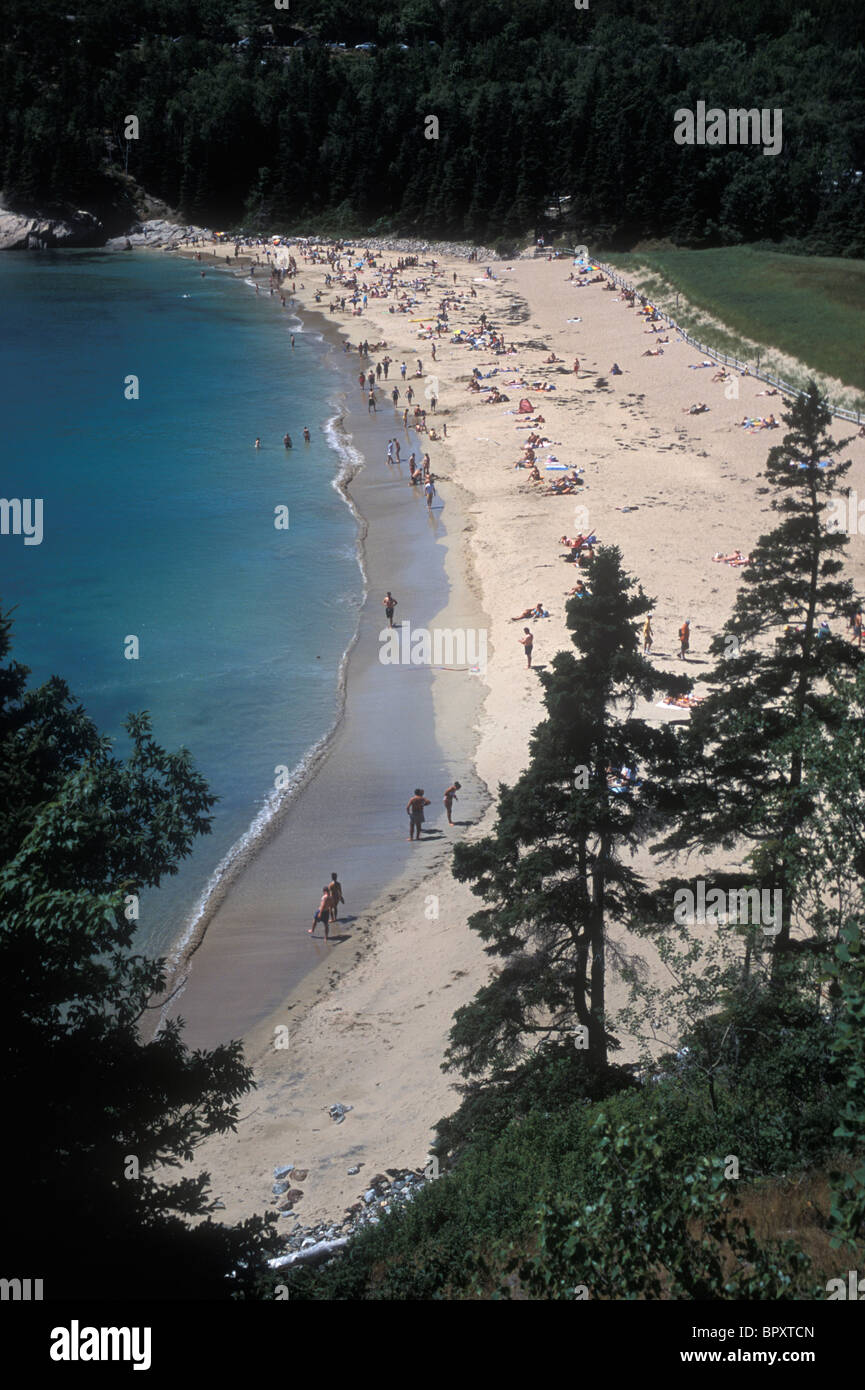 Sand Beach on Mount Desert Island, Maine, home of Acadia National Park. - Stock Image