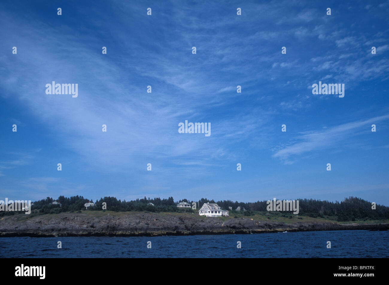 Venerable buildings on the picturesque island of Mohegan, Central Maine. - Stock Image