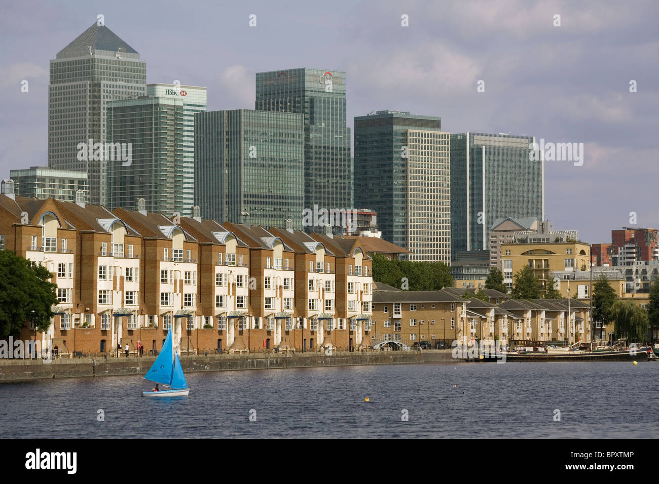 England London Docklands Canary Wharf skyline from Surrey Docks - Stock Image