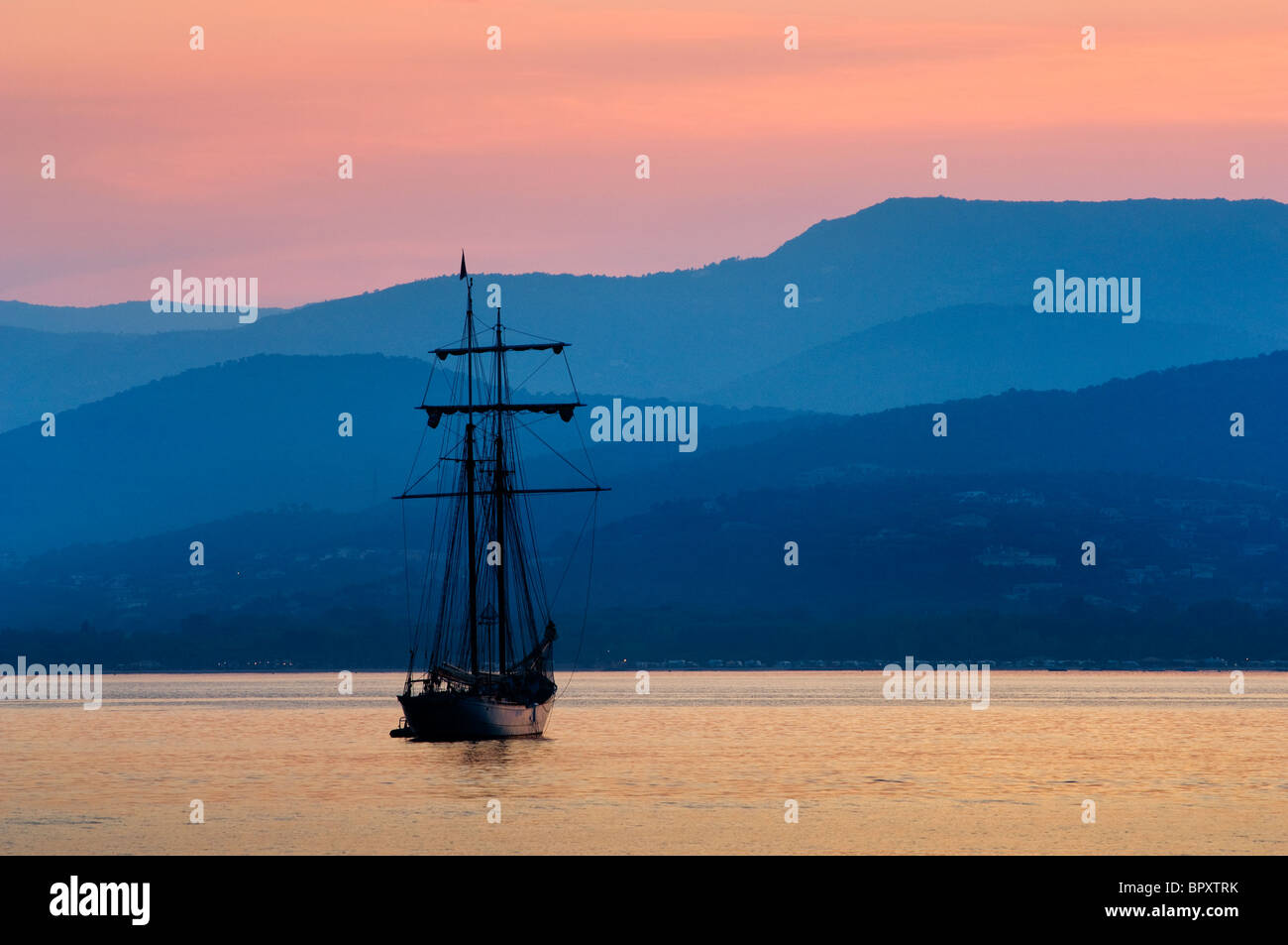 A square rigged sailing boat at anchor in the Golfe de St Tropez - Stock Image