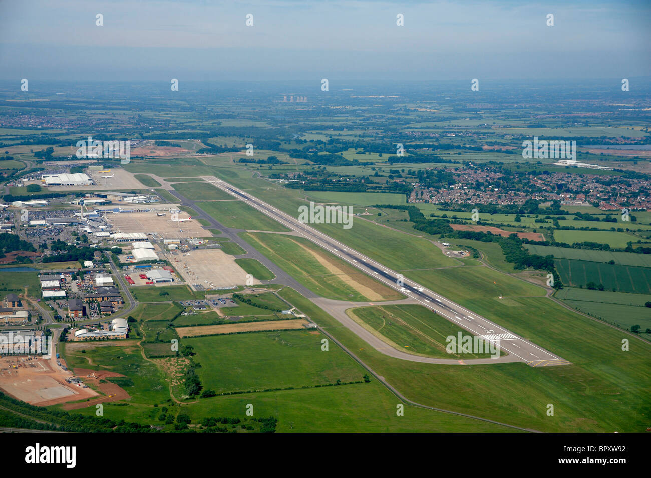 East Midlands Airport, Nottinghamshire, England, UK shot from the air - Stock Image