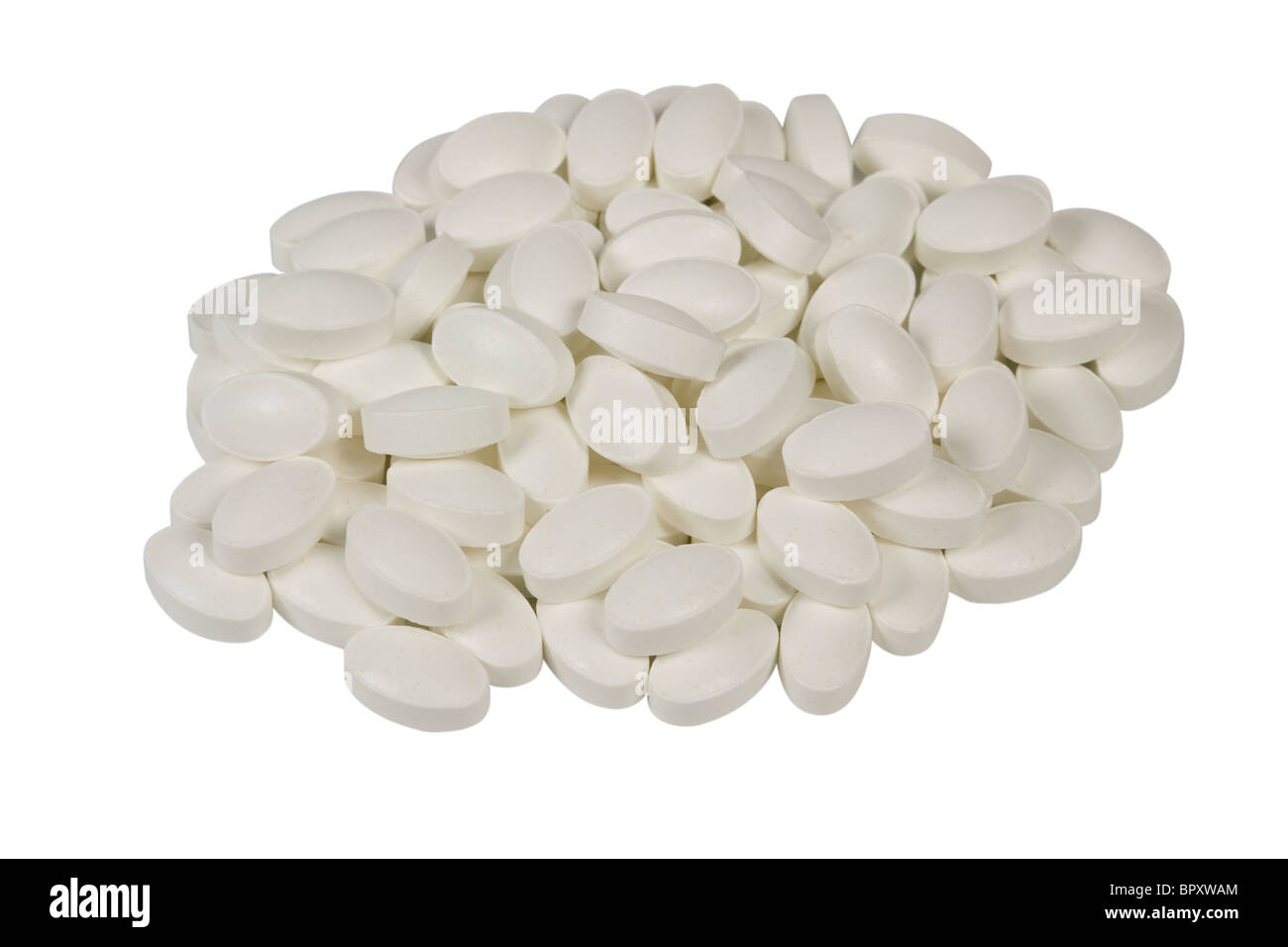 pile of white tablets - Stock Image