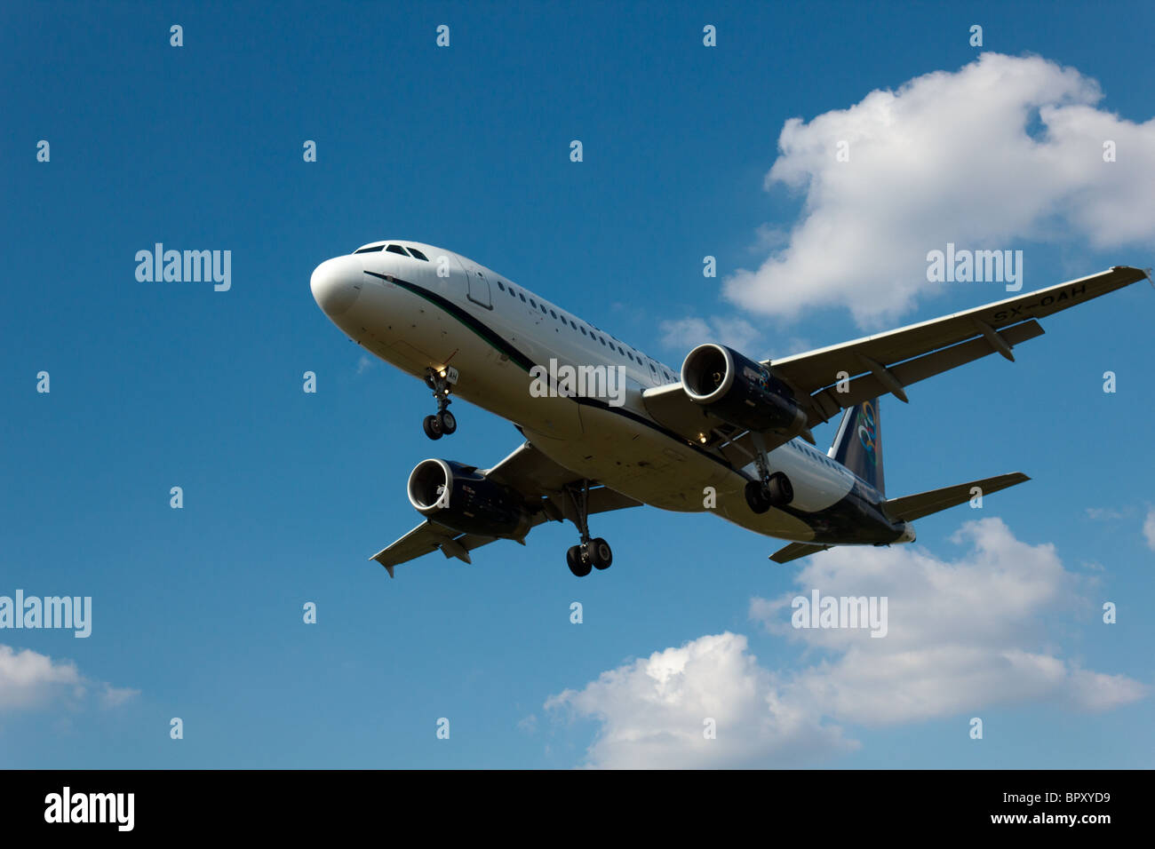 SX-OAH, Airbus A320-232, Olympic Air, Wladyslaw Reymont Airport (EPLL), Lodz - Stock Image