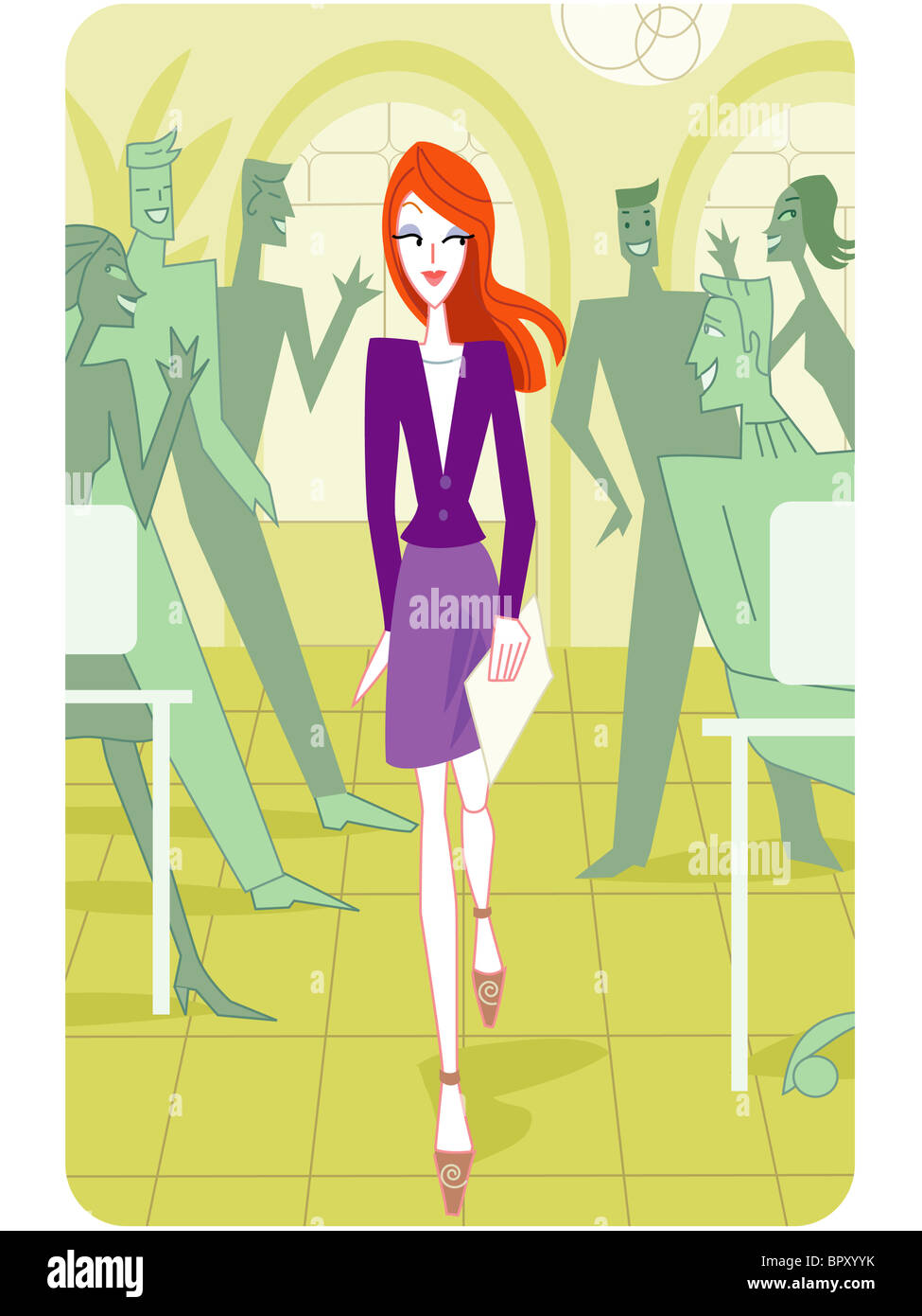 A pretty woman walking pass a group of people - Stock Image