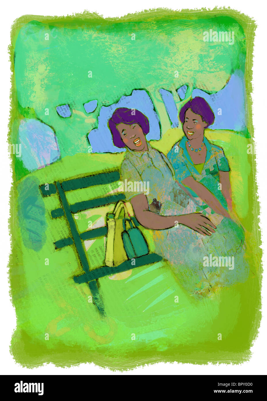 Two women sitting and chatting on a park bench - Stock Image