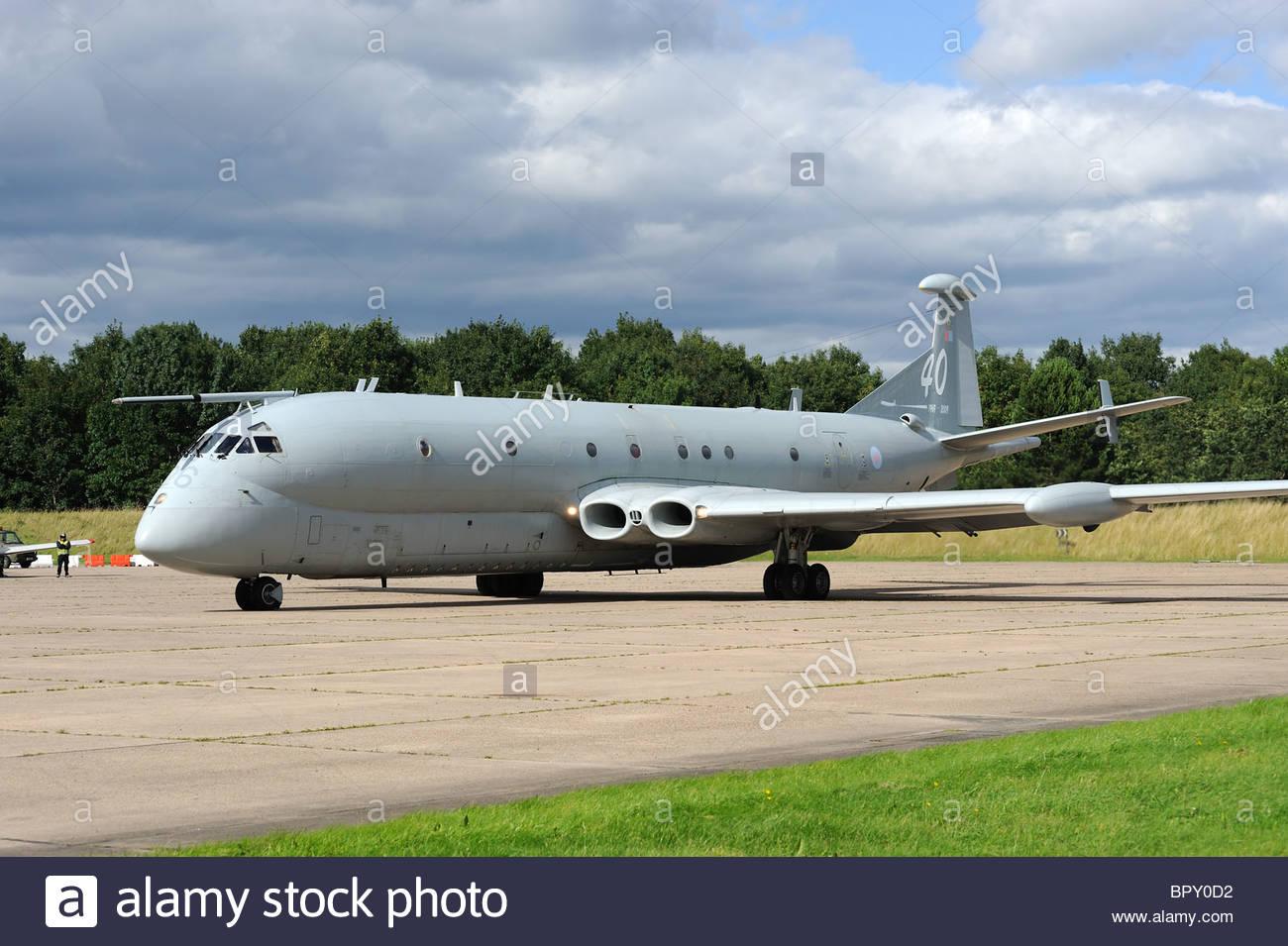 Nimrod MR2 maritime patrol aircraft on the runway - Stock Image