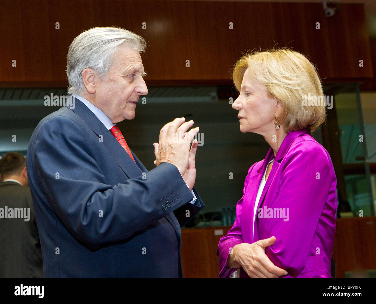 Jean-Claude Trichet and  Elena Salgado - Stock Image