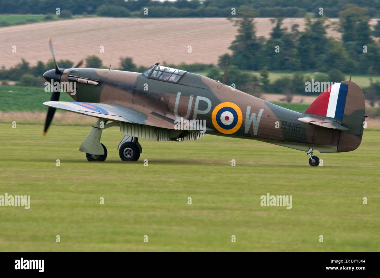 Hawker Hurricane Fighter about to take off from Duxford - Stock Image