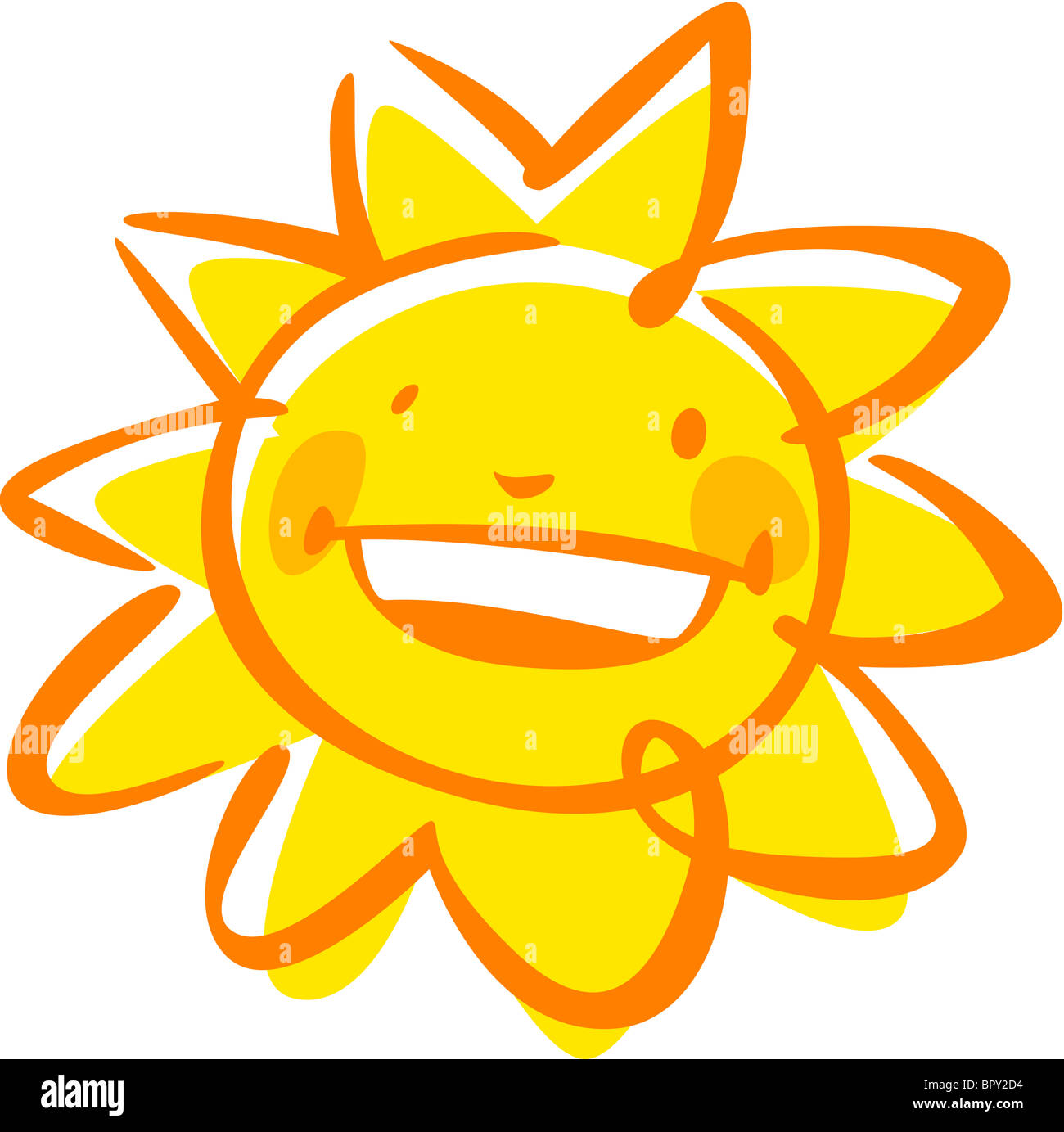 An image of a smiling sun - Stock Image