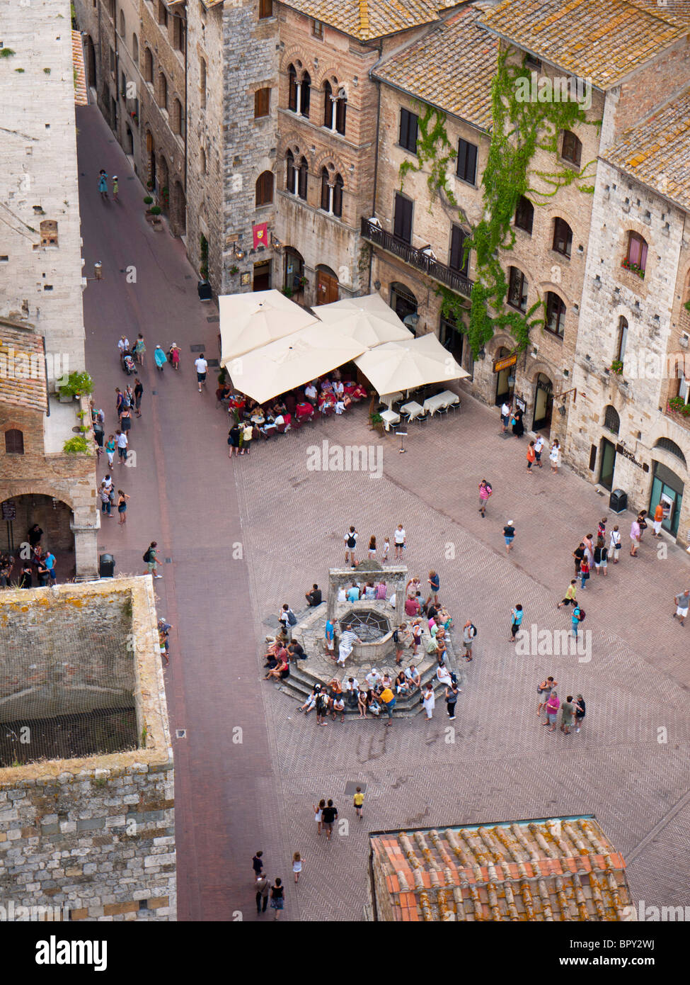 San Gimignano in Tuscany, Italy, mediaval Tuscan town, called medieval Manhattan or the Italian city of towers - Stock Image