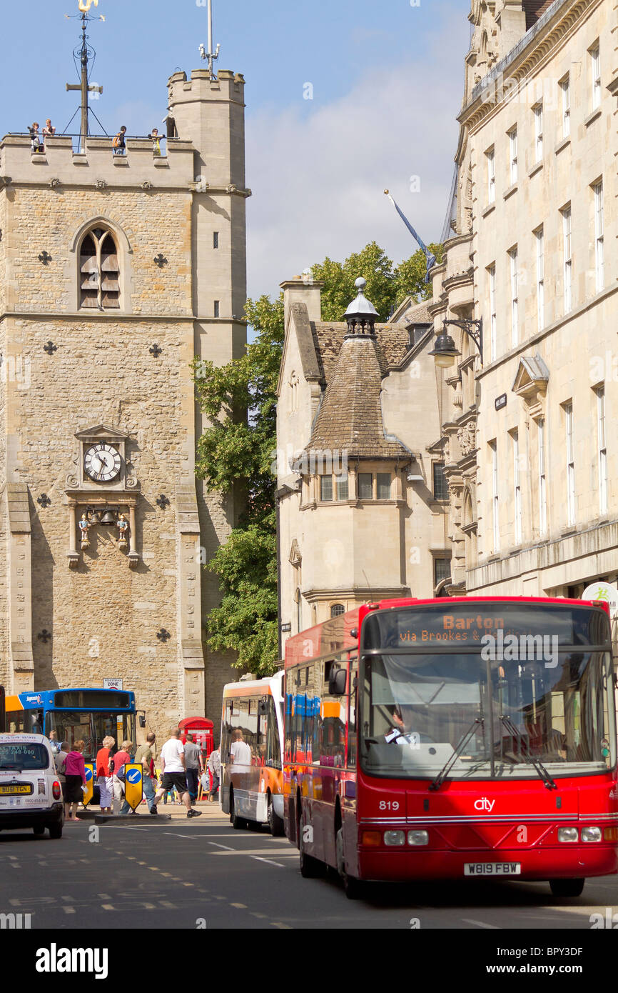 UK Oxford Bus Congestion On The High Street - Stock Image