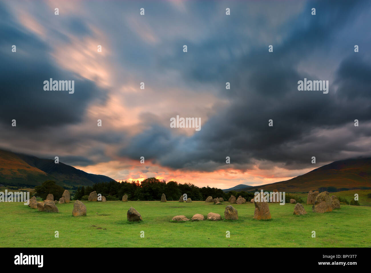 Castlerigg at sunrise near Keswick, Lake District, Cumbria, England. - Stock Image