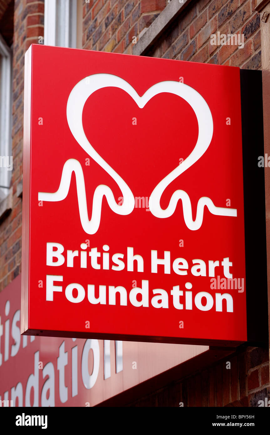 British Heart Foundation Charity Shop Sign - Stock Image