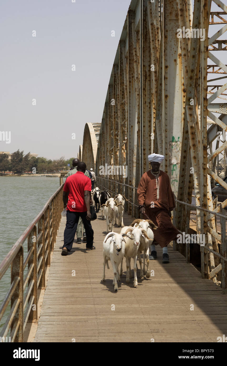 Pont Faidherbe connecting the mainland to St-Louis island, Saint-Louis, Senegal - Stock Image