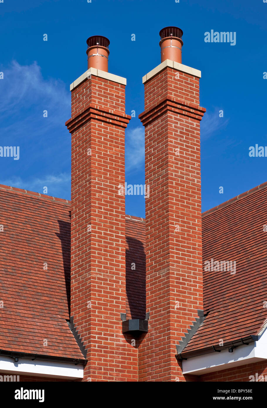 Double chimney on a house in Chigwell, Essex. - Stock Image