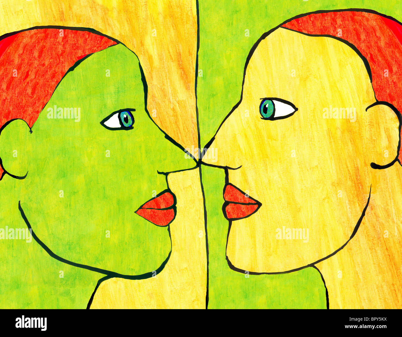Cartoon drawing of a woman and her reflection - Stock Image