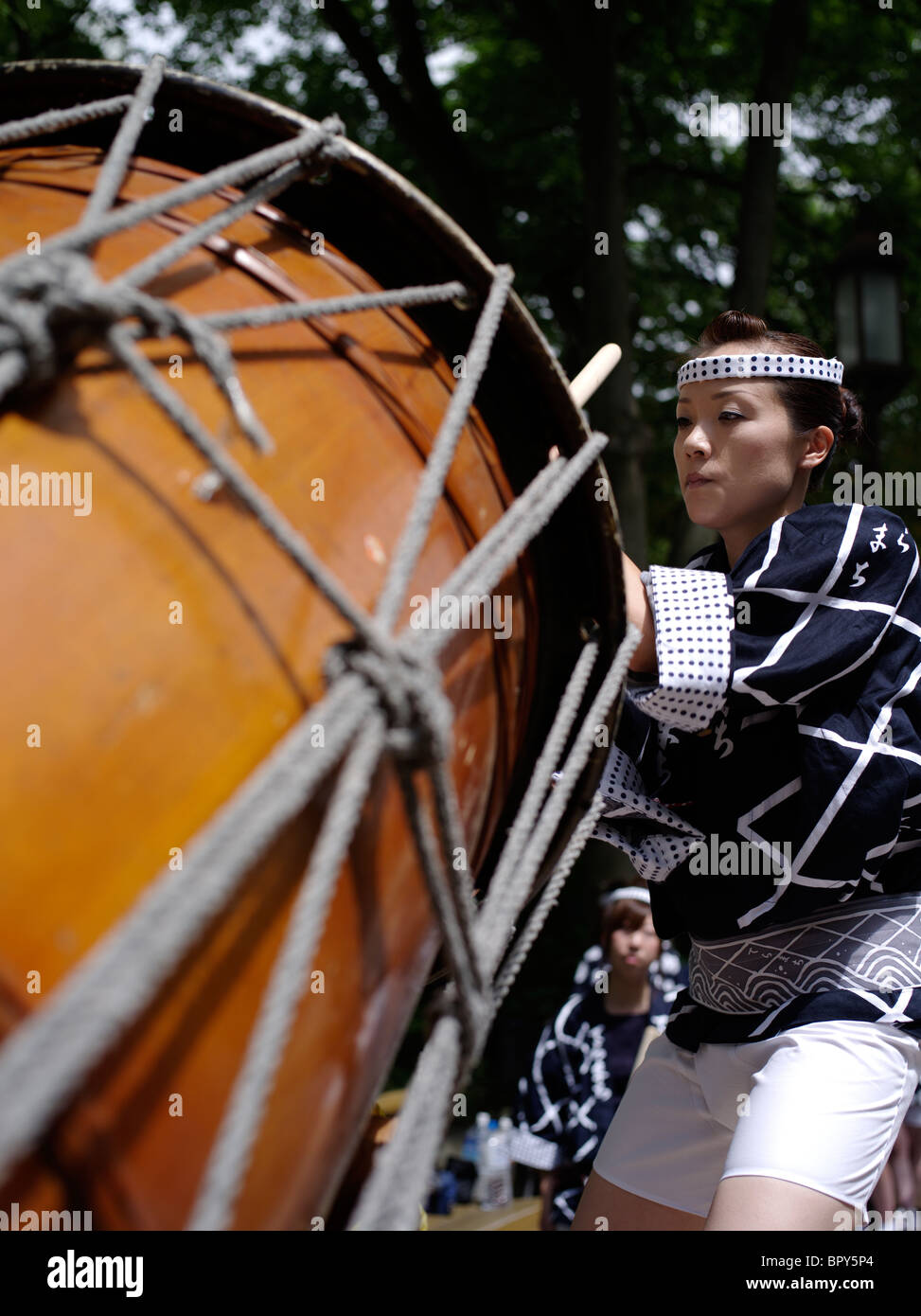 Taiko Drummer at Akita Kanto Matsuri Lantern Festival Akita Prefecture Hokkaido - Stock Image
