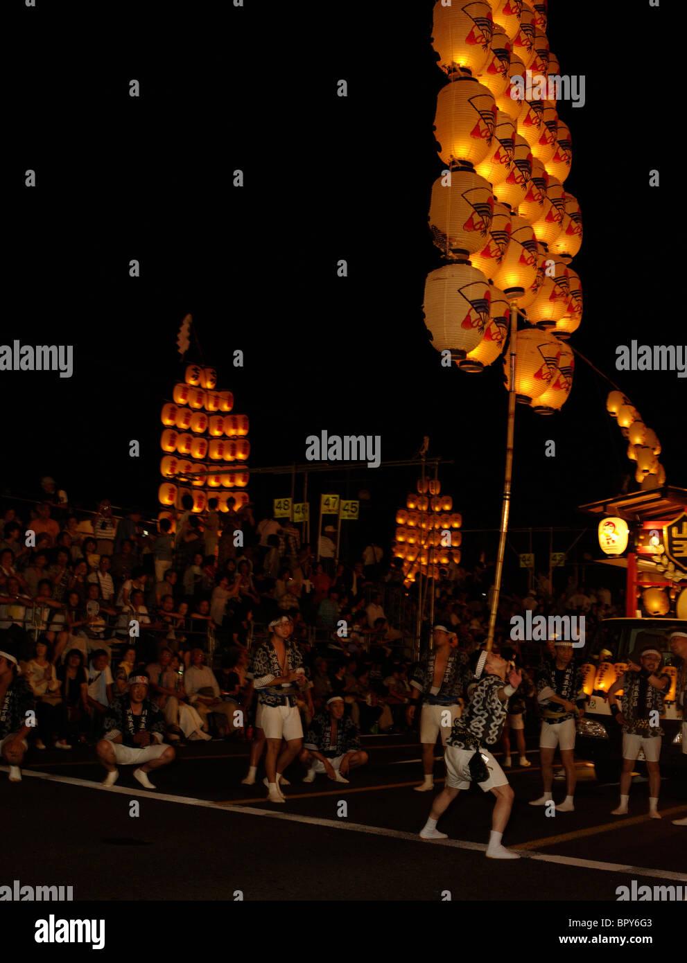 Akita Kanto Matsuri Lantern Festival Akita Prefecture - Stock Image