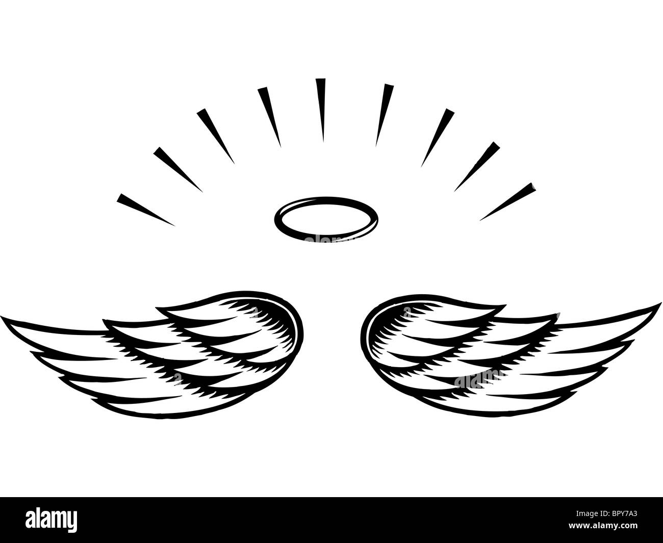 Illustration of angel wings - Stock Image