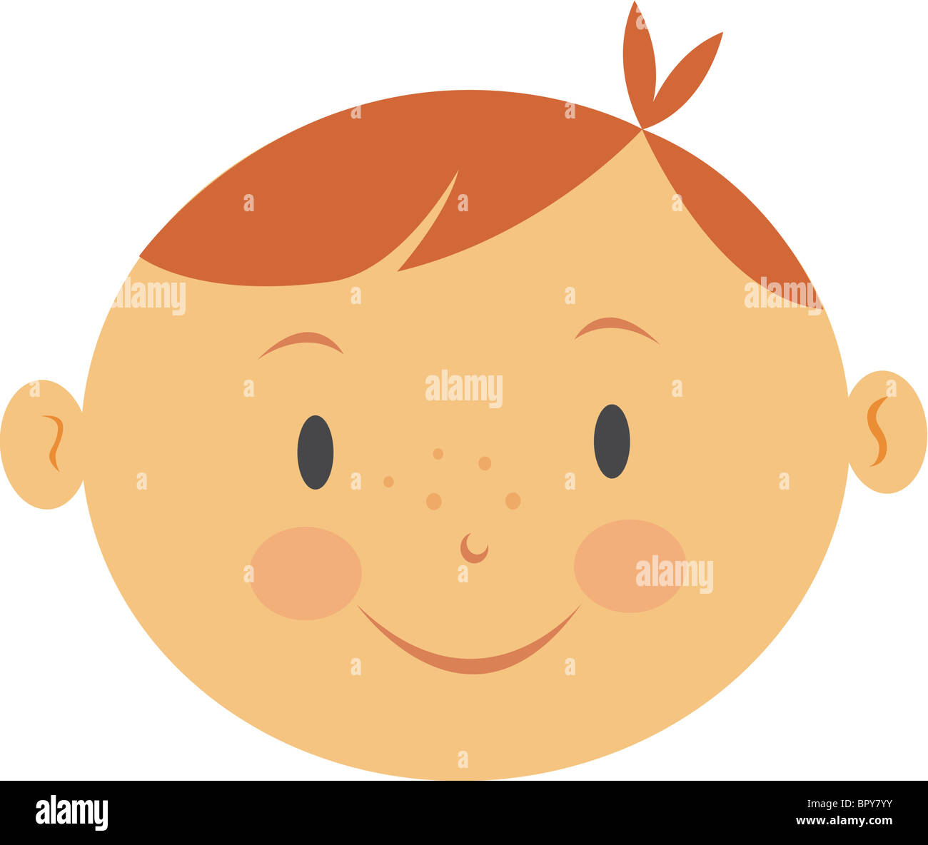 Illustration of a boy with red hair - Stock Image