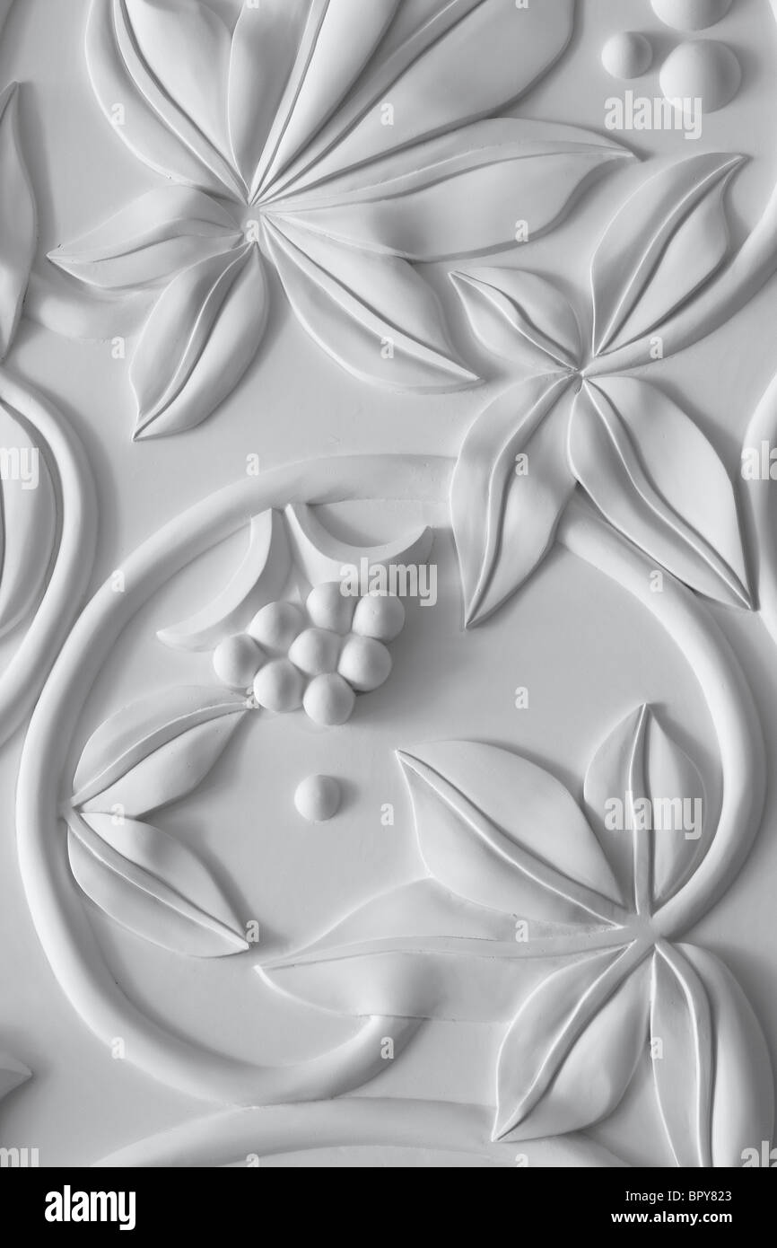 Detail of the plaster frieze in the entrance of the Four Seasons Hotel in London. - Stock Image