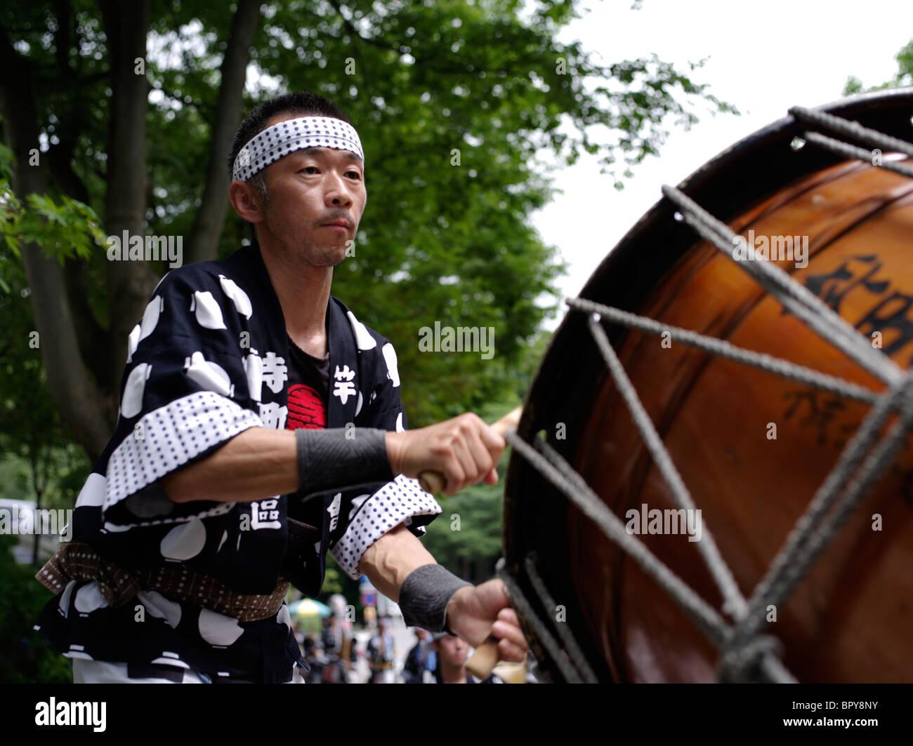 Taiko Drummer at Akita Kanto Matsuri Lantern Festival - Stock Image