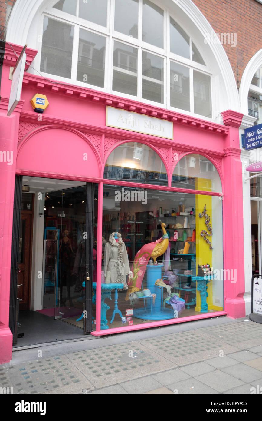 The bright shop front ot the Anjli Shah f fashion costume jeweller store on South Molton Street branch, London, - Stock Image