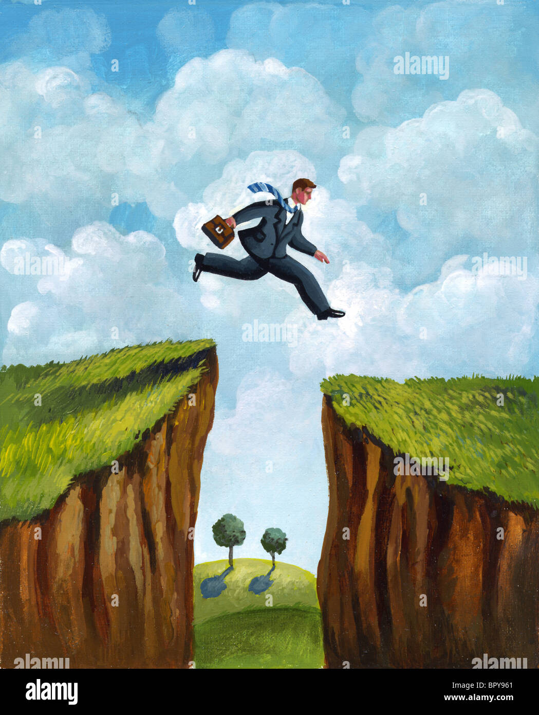 A picture of a businessman running across two cliffs - Stock Image