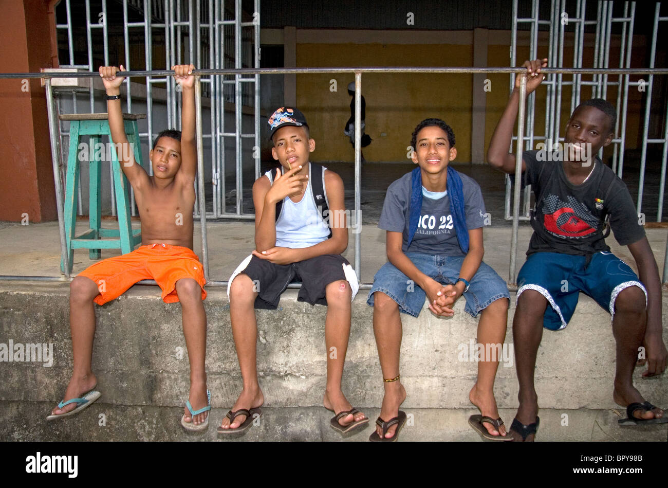 Costa Rican teenagers at Puerto Limon, Costa Rica. - Stock Image