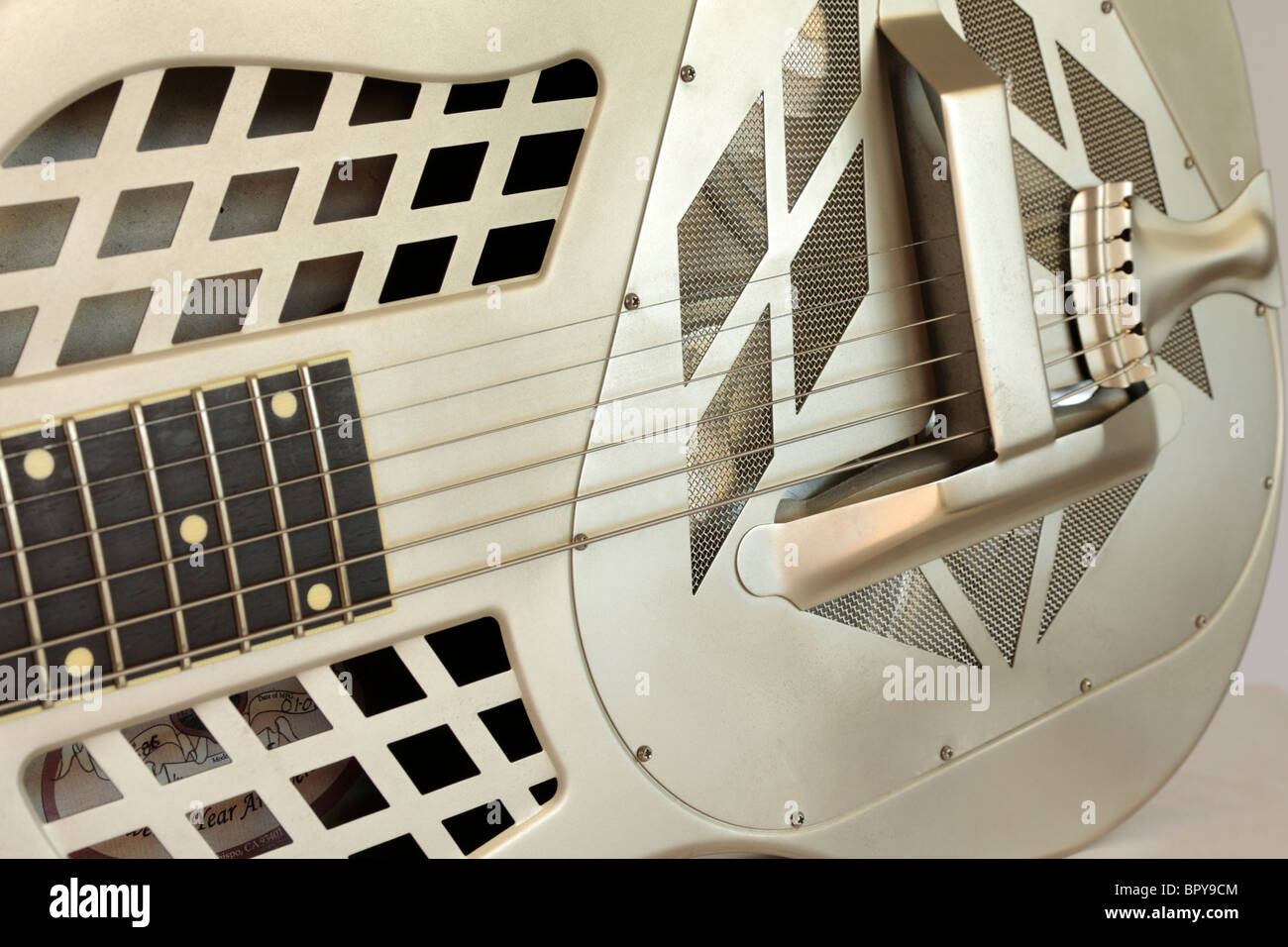 A National Vintage Tricone guitar number 1586(13376 on machine head) built 01 - 08 in the USA owned by Adam Gough - Stock Image
