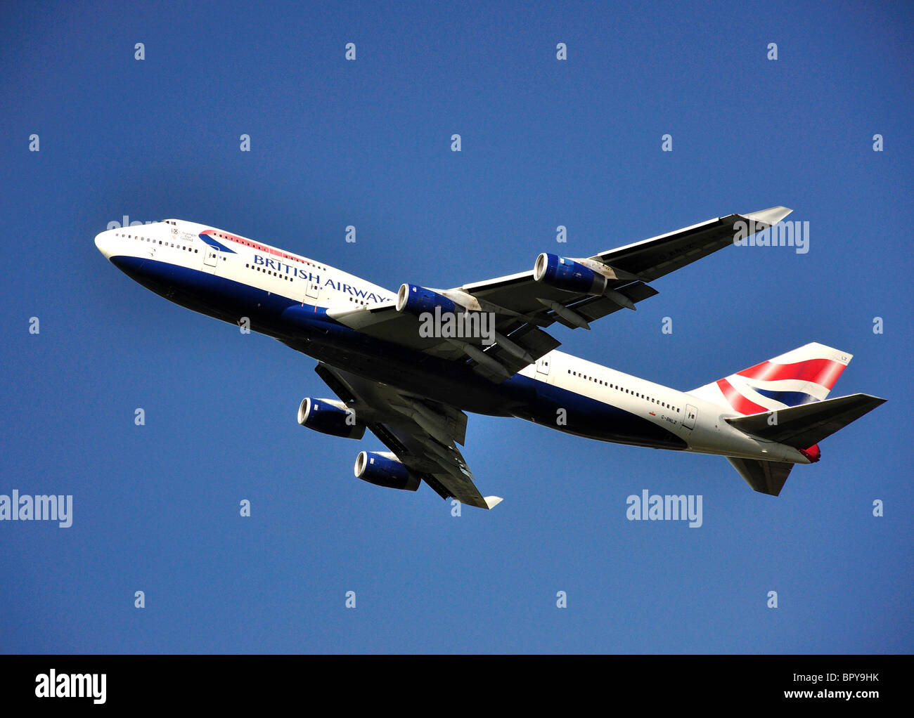 British Airways Boeing 747-400 aircraft taking off from Heathrow Airport, Greater London, England, United Kingdom - Stock Image
