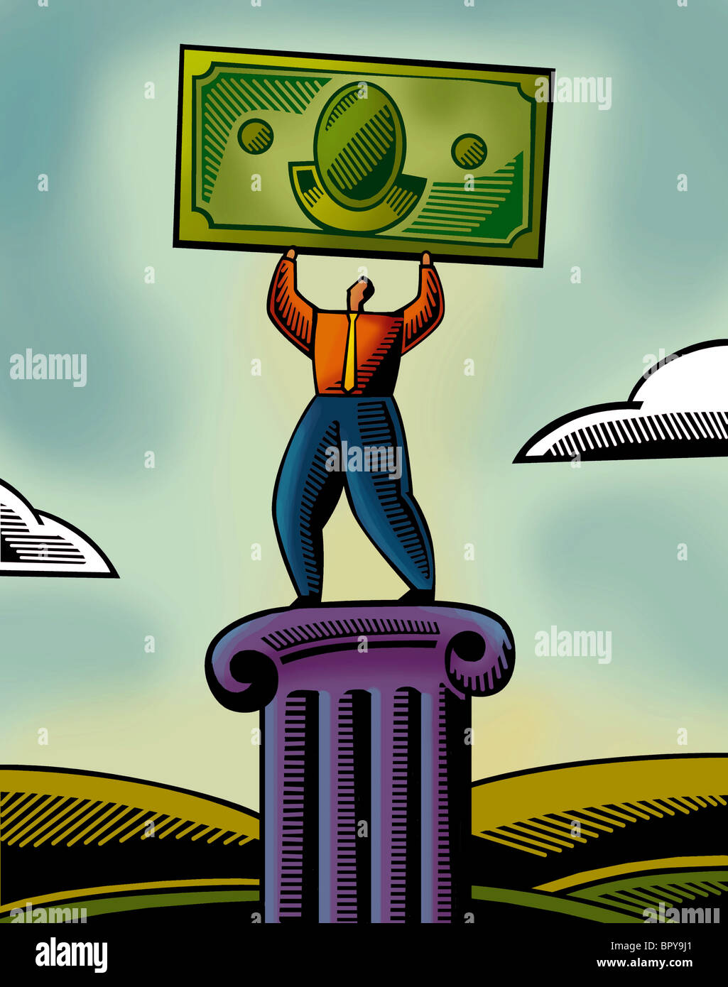 An illustration of a man lifting a bank note Stock Photo