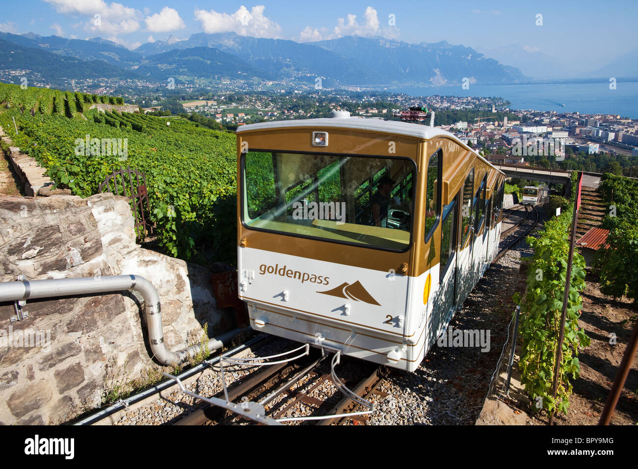 Funicular over Vevey, Switzerland - Stock Image