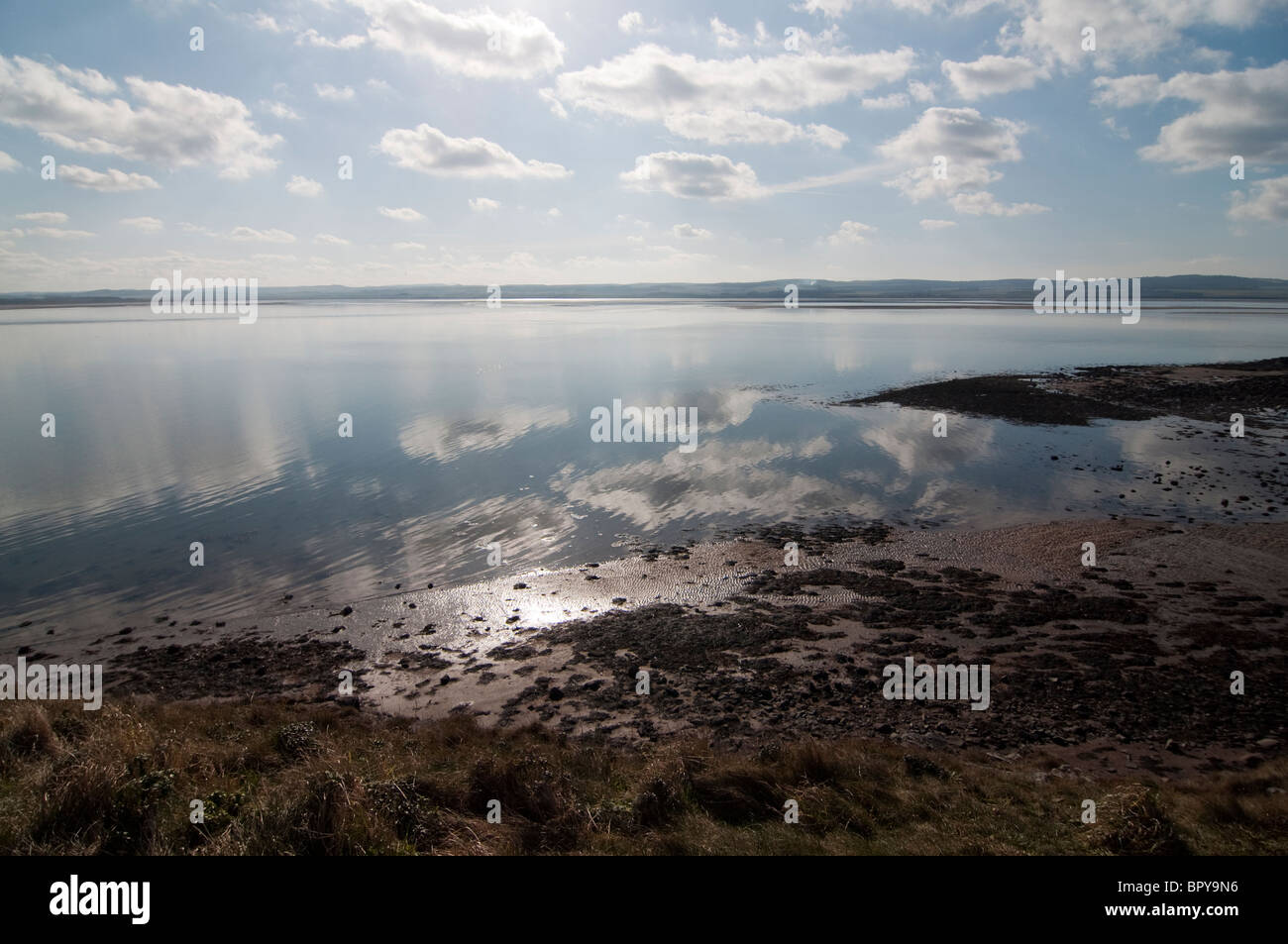 The view from Lindisfarne, Holy Island out onto the North Sea of Northumberland in England - Stock Image
