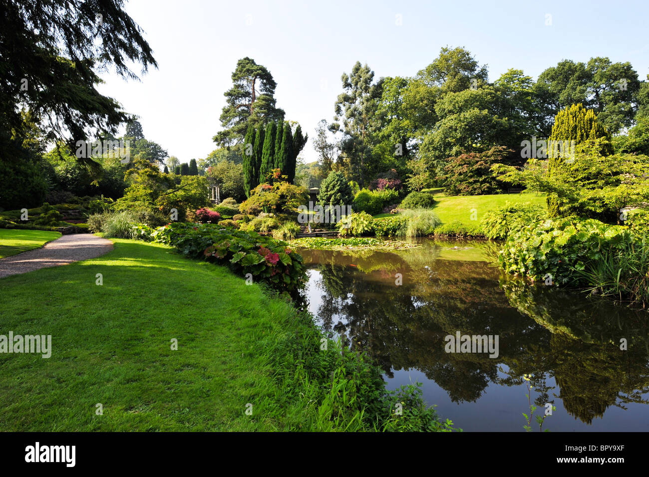 British gardens are glorious in the lengthening evening shadows. The Temple garden in Cheshire. - Stock Image