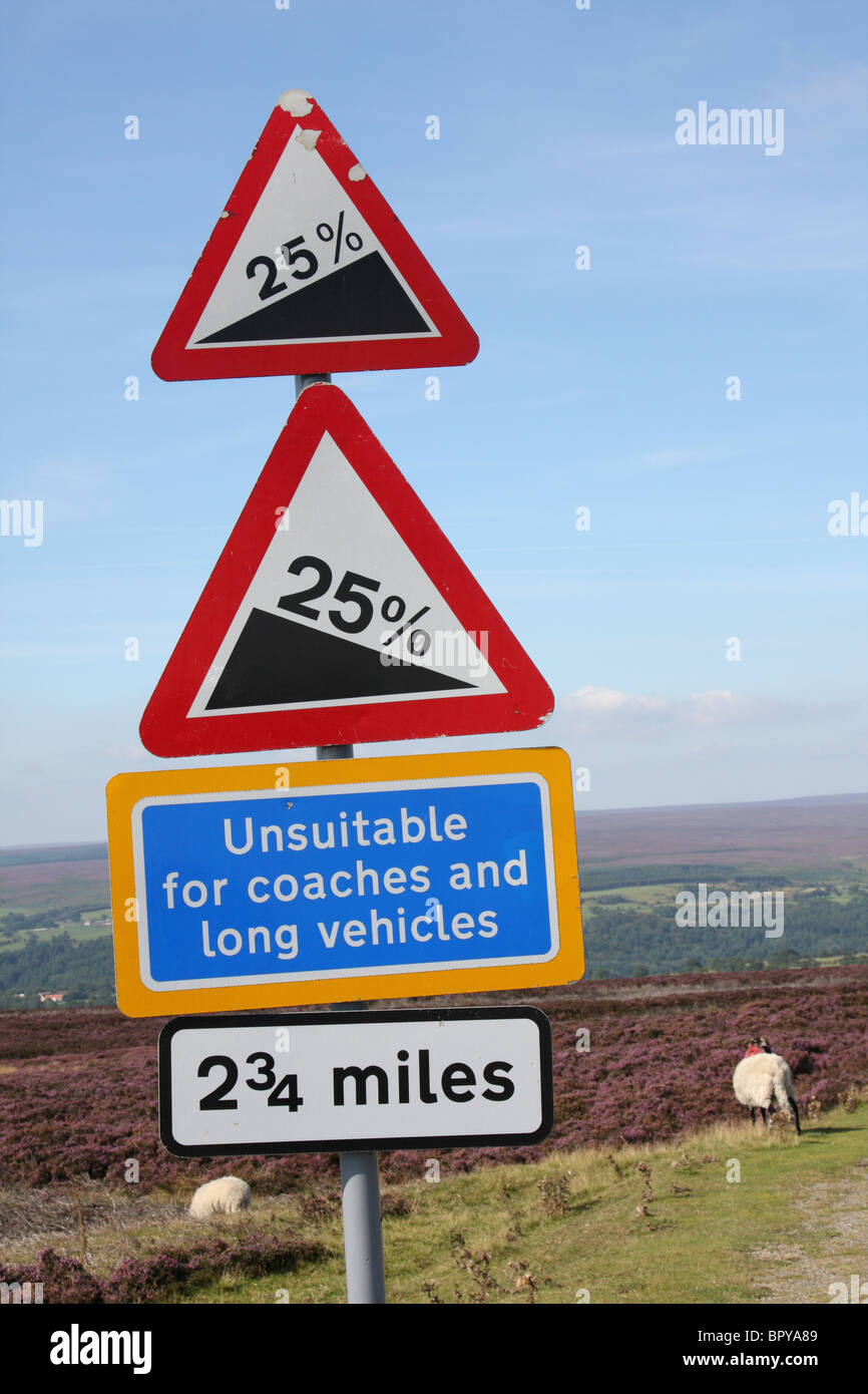 Road signs on the North Yorkshire Moors. - Stock Image
