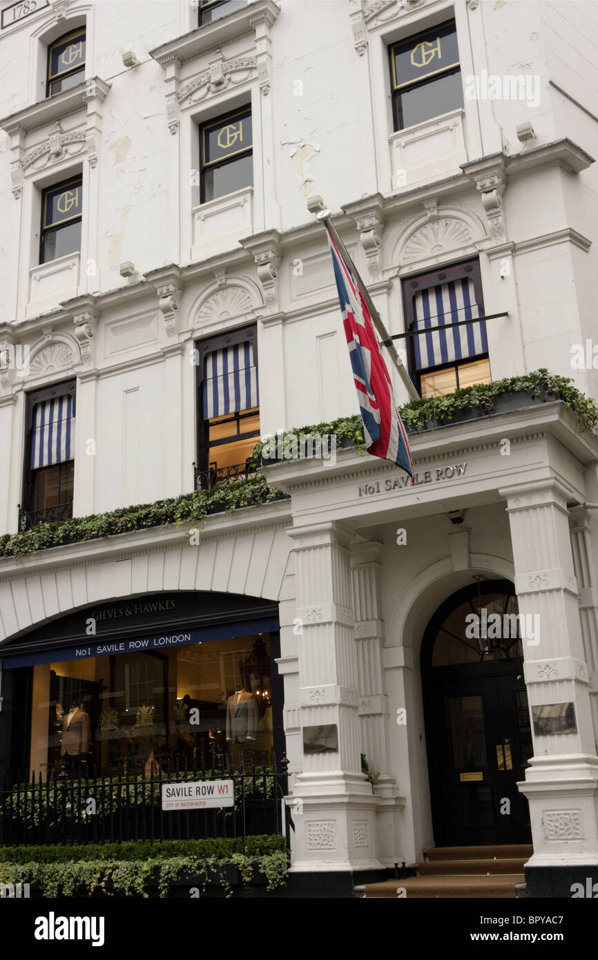 Front facade of the gentlemen`s outfitters Gieves and Hawkes at No 1 Saville Row just a stones throw from Bond Street. - Stock Image