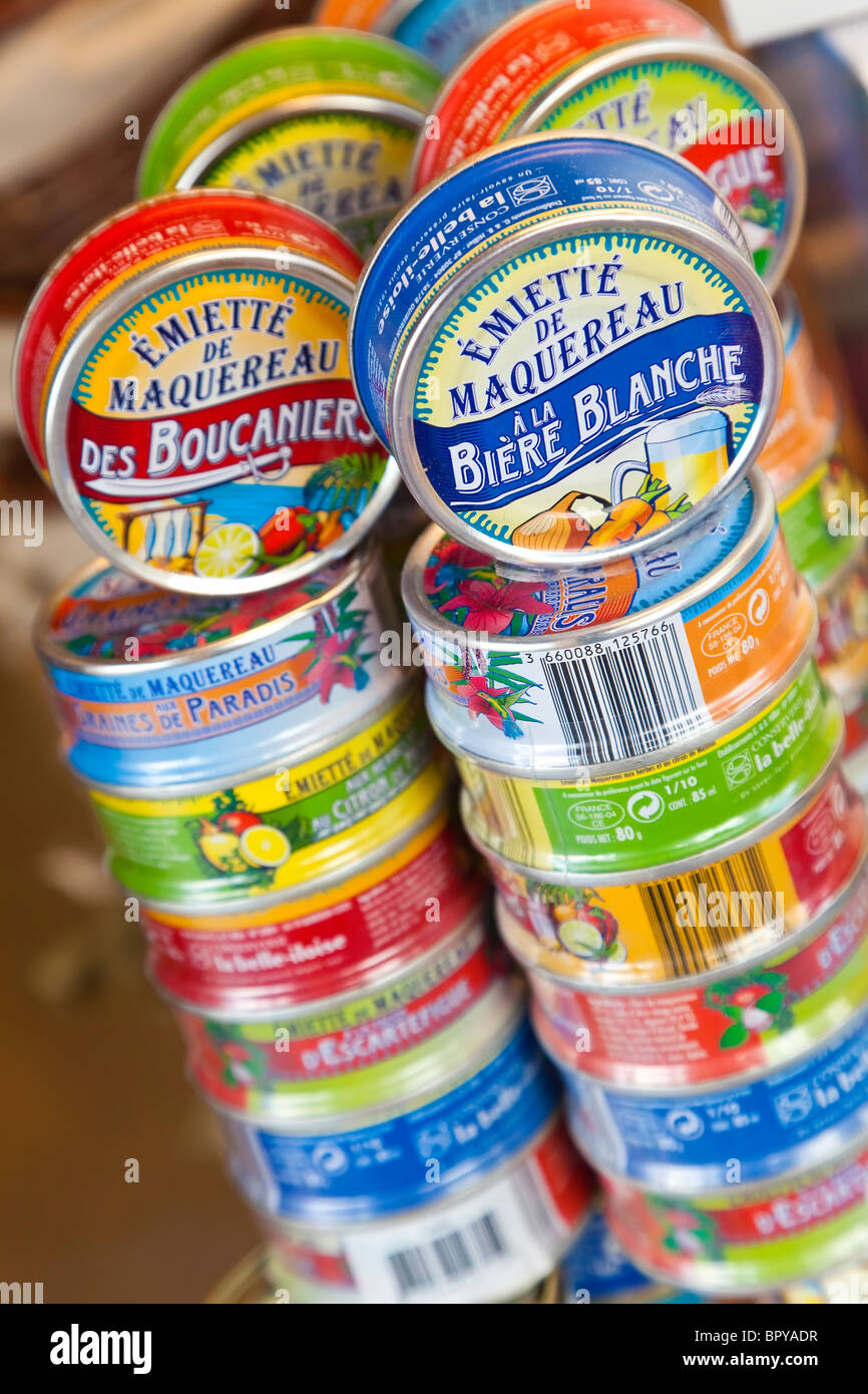 Tins of fish, mackerel, for sale in a French food shop, Deauville, Normandy - Stock Image