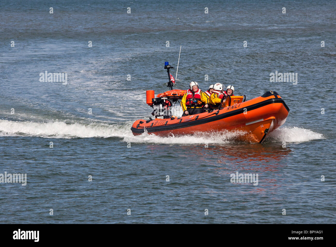 Atlantic 75 Class B RNLI Lifeboat, in the North Sea of Staithes, North Yorkshire. - Stock Image