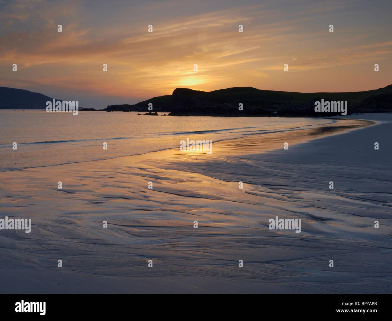 Sunset at Balnakeil Bay on the far north west coast of Scotland UK - Stock Image