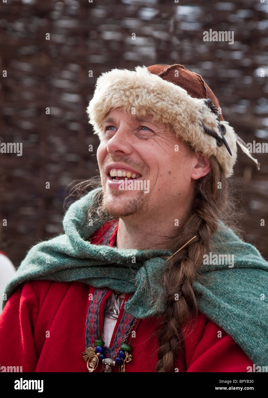 Male historical re-enactor at the Viking village as part of Largs Viking Festival, 2010. Historic clothing. - Stock Image