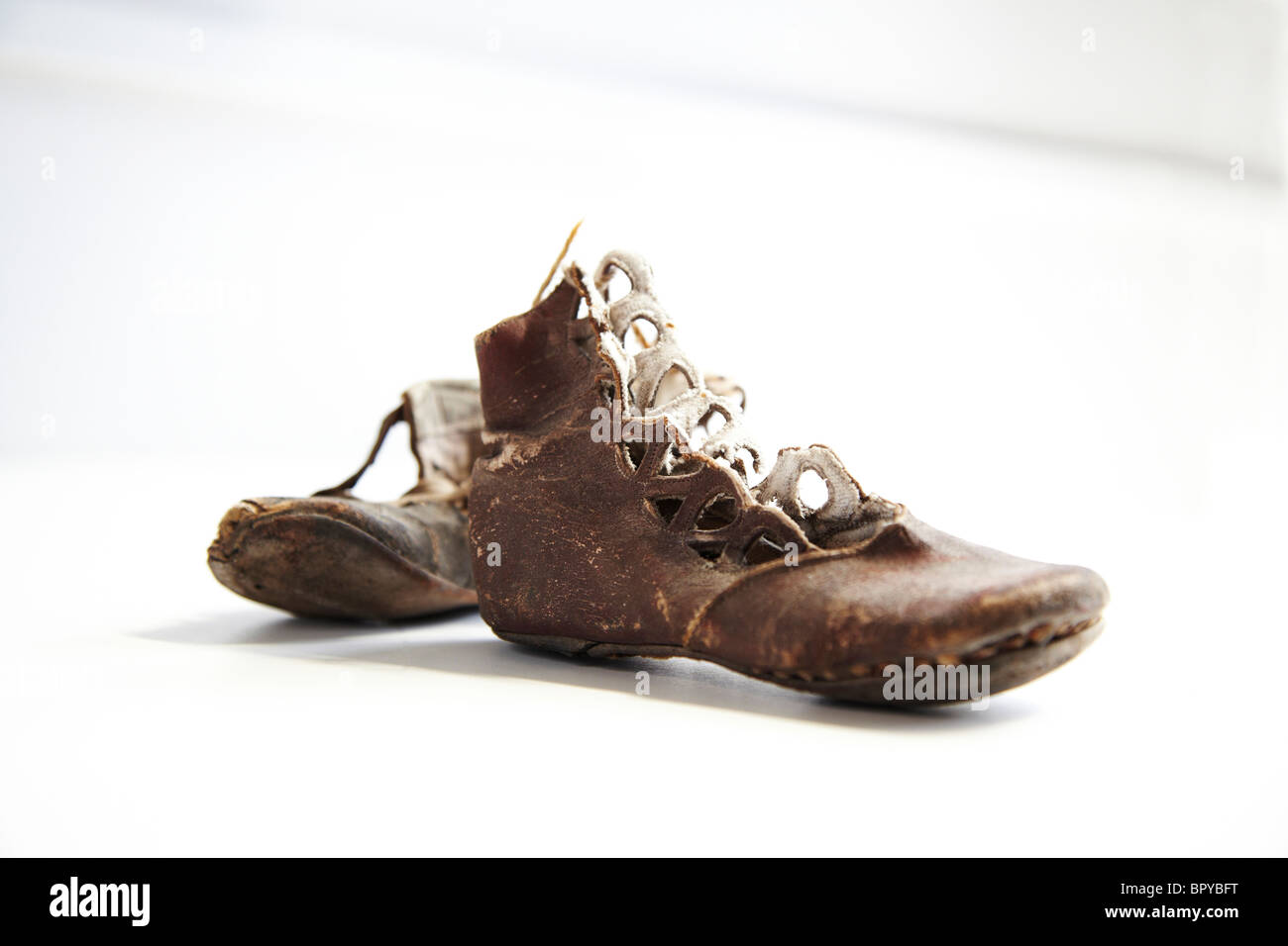 antique old baby shoes - Stock Image