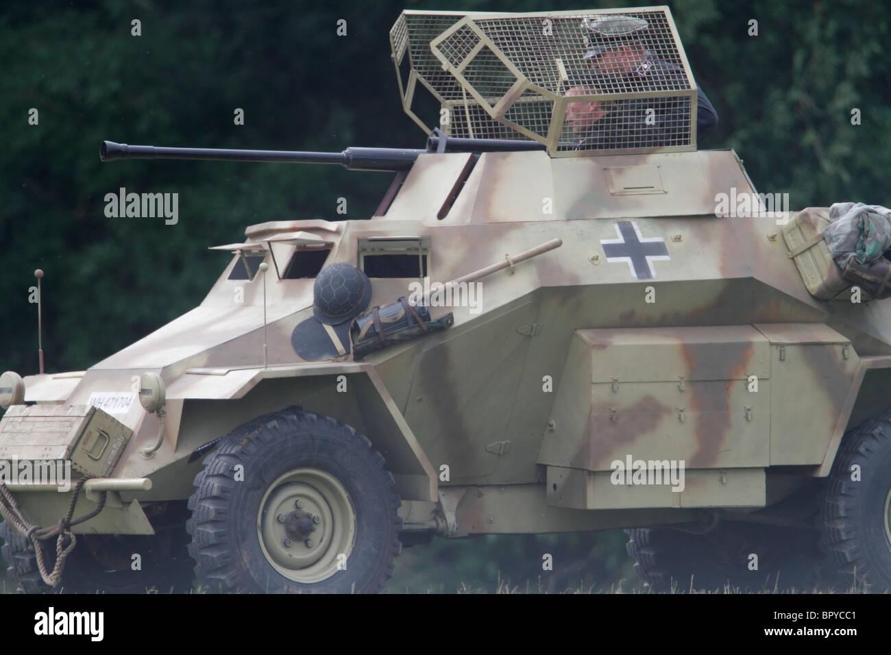 WWII re-enactment. A German Sd.Kfz. 223 Light armoured car Festival of History 2010, Kelmarsh Hall, Northamptonshire. - Stock Image