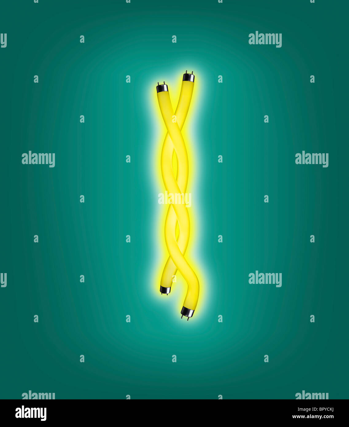 yellow fluorescent light shaped like a DNA strand against a teal background - Stock Image